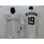 MLB Colorado Rockies #19 Charlie Blackmon White 2020 Nike Cool Base Jersey