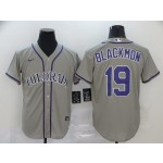 MLB Colorado Rockies #19 Charlie Blackmon Grey 2020 Nike Cool Base Jersey