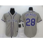 MLB Colorado Rockies #28 Nolan Arenado Grey 2020 Nike Cool Base Jersey