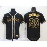MLB Colorado Rockies #28 Nolan Arenado Black Gold Nike Flexbase Jersey