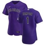 Men's Colorado Rockies #1 Garrett Hampson Nike Purple Alternate 2020 Authentic Player MLB Jersey