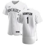 Men's Colorado Rockies #1 Garrett Hampson Nike White Home 2020 Authentic Player MLB Jersey