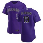 Men's Colorado Rockies #19 Charlie Blackmon Nike Purple Alternate 2020 Authentic Player MLB Jersey