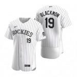 Men's Colorado Rockies #19 Charlie Blackmon Nike White Home 2020 Authentic Player MLB Jersey