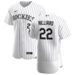 Men's Colorado Rockies #22 Sam Hilliard Nike White Home 2020 Authentic Player MLB Jersey