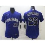 Nike Men's Colorado Rockies #28 Nolan Arenado Nike Purple Alternate 2020 Authentic Player MLB Jersey
