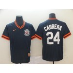 MLB Detroit Tigers #24 Miguel Cabrera Navy Nike Throwback Jersey