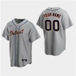 Men's Detroit Tigers Custom Gray Road Cool Base Jersey(Name and number remark in comment column)