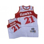 NBA Throwback Atlanta Hawks Dominique Wilkins #21 white jersey