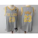 Cavaliers #23 LeBron James Gray The Land Nike Swingman Jersey