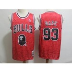 Bulls #93 Bape Red Hardwood Classics Jersey
