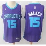 Hornets #15 Kemba Walker Purple Nike Swingman Jerse