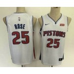 Men's Detroit Pistons #25 Derrick Rose New White 2019 Nike Swingman Stitched NBA Jersey With The Sponsor Logo