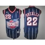NBA Throwback Houston Rockets Clyde Drexler #22 navy blue jersey
