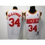 NBA Throwback Houston Rockets Hakeem Olajuwon #34 white jersey