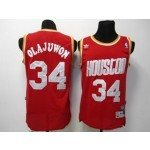 NBA Throwback Houston Rockets Hakeem Olajuwon #34 Red jersey