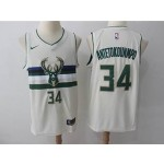 Bucks #34 Giannis Antetokounmpo Cream Nike City Edition Swingman Jersey