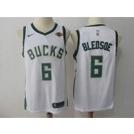 Bucks #6 Eric Bledsoe White Nike Jersey