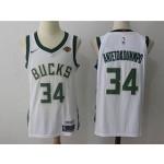Bucks #34 Giannis Antetokounmpo White Nike Jersey