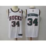 Bucks #34 Giannis Antetokounmpo White Nike Throwback Jersey