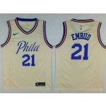 76ers #21 Joel Embiid Cream City Edition Nike Swingman Jersey