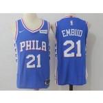 76ers #21 Joel Embiid Blue Nike Jersey