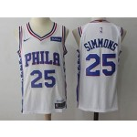 76ers #25 Ben Simmons White Nike Jersey