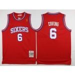 NBA Throwback Philadelphia Sixers 76ers Julius Erving #6 Red jersey