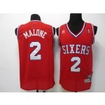 NBA Throwback Philadelphia Sixers 76ers Moses Malone #2 red jersey