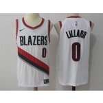 Blazers #0 Damian Lillard White Nike Authentic Jersey