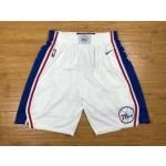 76ers White Nike Authentic Shorts