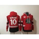 Raptors #10 DeMar DeRozan Red All Stitched Hooded Sweatshirt