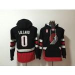 Portland Blazaers #0 Damian Lillard Black All Stitched Hooded Sweatshirt