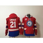 Philadelphia 76ers #21 Joel Embiid Red All Stitched Hooded Sweatshirt