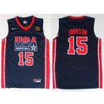NBA USA Team 1992 Magic Johnson #15 navy blue jersey