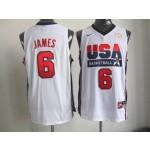 NBA Throwback Olympic Games USA LeBron James #6 white