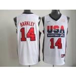 NBA Throwback Olympic Games USA Charles Barkley #14 white