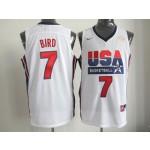 NBA Throwback Olympic Games USA Larry Bird #7 white
