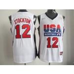 NBA Throwback Olympic Games USA John Stockton #12 white
