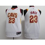 KIDS Cavaliers #23 LeBron James White Nike Jersey