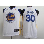 Kids Warriors #30 Stephen Curry White 2017-18 Nike Jersey