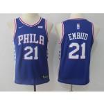 76ers #21 Joel Embiid Blue Youth Nike Jersey
