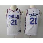 76ers #21 Joel Embiid White Youth Nike Jersey