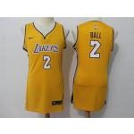 Lakers #2 Lonzo Ball Yellow Women Nike Swingman Jersey