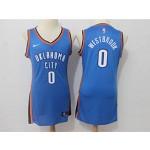 Thunder #0 Russell Westbrook Blue Women Nike Swingman Jersey