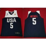 NBA USA Mitchell #5 2019 FIBA Basketball World Cup navy blue jersey