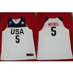 NBA USA Mitchell #5 2019 FIBA Basketball World Cup white jersey