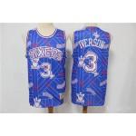 76ers Iverson #3 Blue Tear Up Pack Swingman Jersey