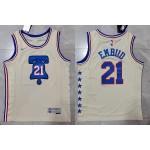 Men's Philadelphia 76ers #21 Joel Embiid Cream 2020-2021 Earned Edition Swingman Jersey
