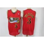 NBA 76ers #3 Allen Iverson Red Hardwood Classics Throwback Mesh Jersey